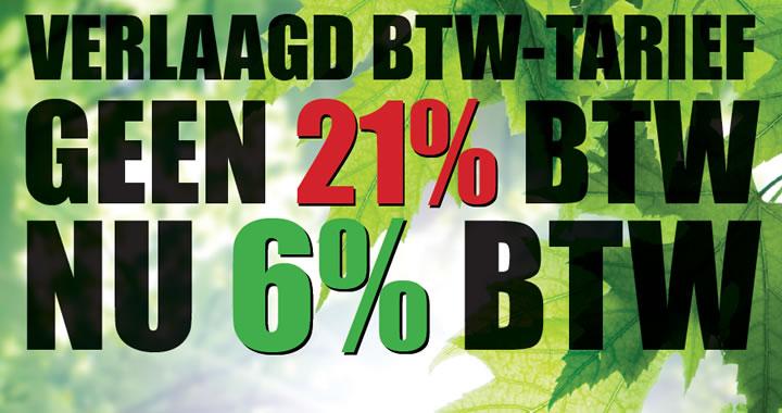 Verlaagd BTW tarief hoveniers NU 6% BTW